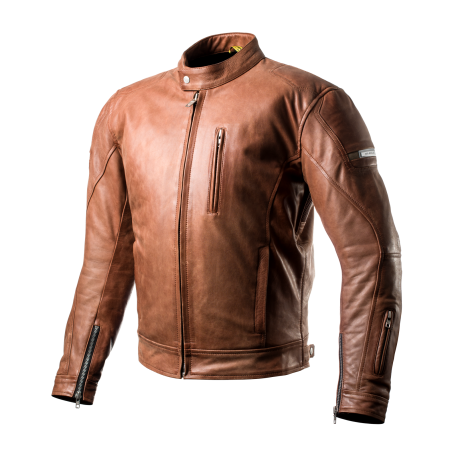 SHIMA HUNTER Motorcycle Brown Jacket in Vintage Style